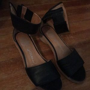 Jeffrey Campbell black ankle strap sandals